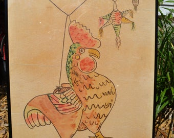 Original watercolor rooster pinata Folk Art whimsical fun primitive print ? Ink ?/Offered by poshparagons for you or give as a gift