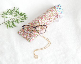 Gift card holder for glasses case, storage case, floral, bezel, fabric pouch, colorful flowers, leaves, pouch bag pouch pattern