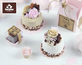Dollhouse Miniature Cake - White Sprinkle Cake in 1/12 dollhouse miniature scale.