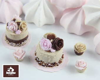 Dollhouse Miniature Cake - Peanut Butter Sprinkle Cake in 1/12 dollhouse miniature scale.