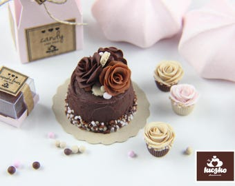 Dollhouse Miniature Cake - Dark Chocolate Sprinkle Cake with Roses in 1/12 dollhouse miniature scale.