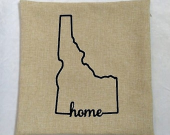 Idaho Home Pillow Cover, Idaho State Outline, Faux Linen Pillow Cover, 18x18 Cover, Idaho State, Home Decor, Decorative Pillows