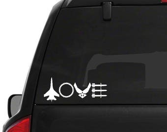 Air Force Love Decal, Missiles, Car Decal, Air Force Wife, Air Force Girlfriend, Military Wife, Military Gift, Gift for Her, Gift for Him,