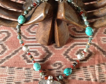 Vintage Tibetan silver and turquoise beaded necklace