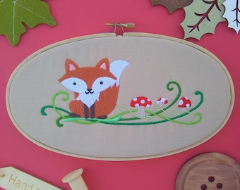 Autumn Fox and Toadstools embroidery hoop art