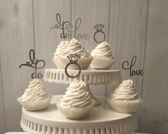 I Do, Love cupcake toppers, bridal shower cupcake topper