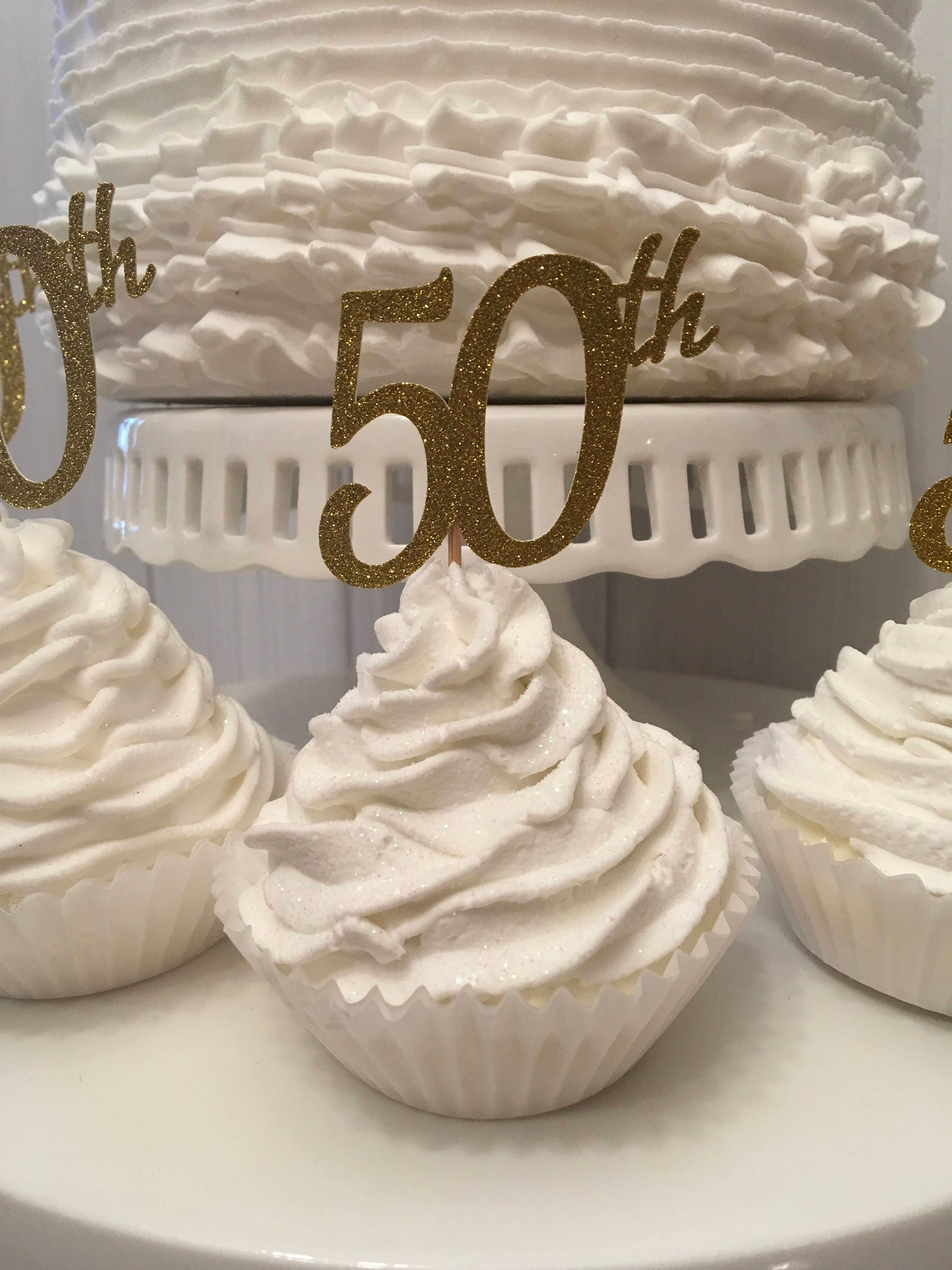 50th Anniversary Cupcake Toppers Birthday