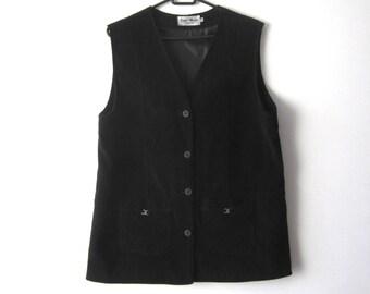 Vintage Dark Vest Women s Black Long Vest Waistcoat Medium Size Classic Vest  Everyday Grandmother Velvet Vest Comfortable Lady Vest 4125a2d46