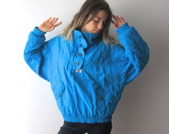 aa2ee251ef Vintage Womens Bright Turquoise Ski Jacket Blue Snow Jacket Hipster Winter  Activewear Sport Jacket Size Medium Ski Jacket Snowboard Jacket