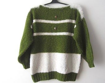 a8afc1497b Vintage Marine Knitted Sweater Women s Quarter Sleeves Summer Sweater Party  Festival Top Size Medium Large Green White Fuzzy Romantic Jumper