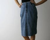 Vintage 90s Washed Out Denim Midi Skirt Acid Wash High Waist Pencil Skirt Size Small