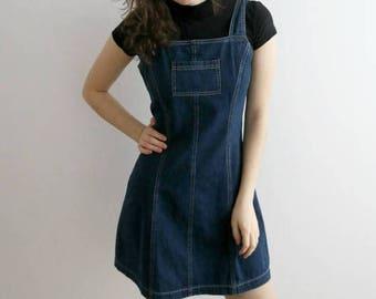 Vintage Denim Dress Jeans Sarafan Dress Short Sleeved Mini Dress Dark Blue Jumper Dress Size Medium