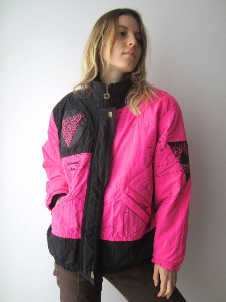 9dd837354c Vintage Womens Hot Pink Ski Jacket Neon Pink Snow Jacket