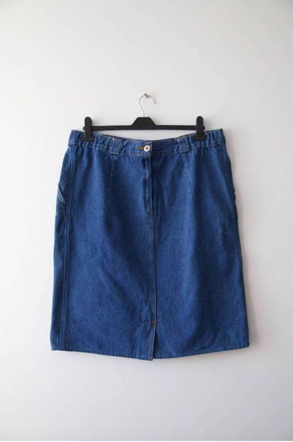 Vintage falda 90 Jeans clásico Denim falda falda azul oscuro  6c7f5074cfe1