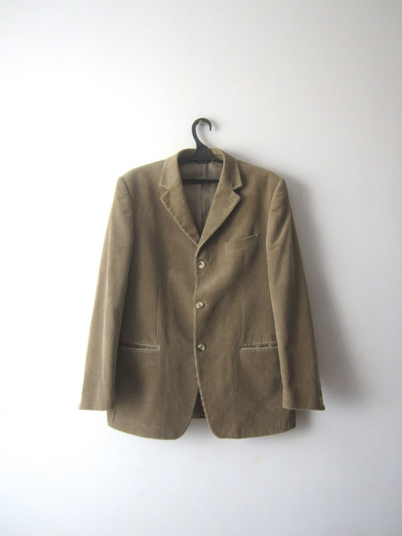 Vintage Sport Coat Brown Corduroy Blazer Men's Cot