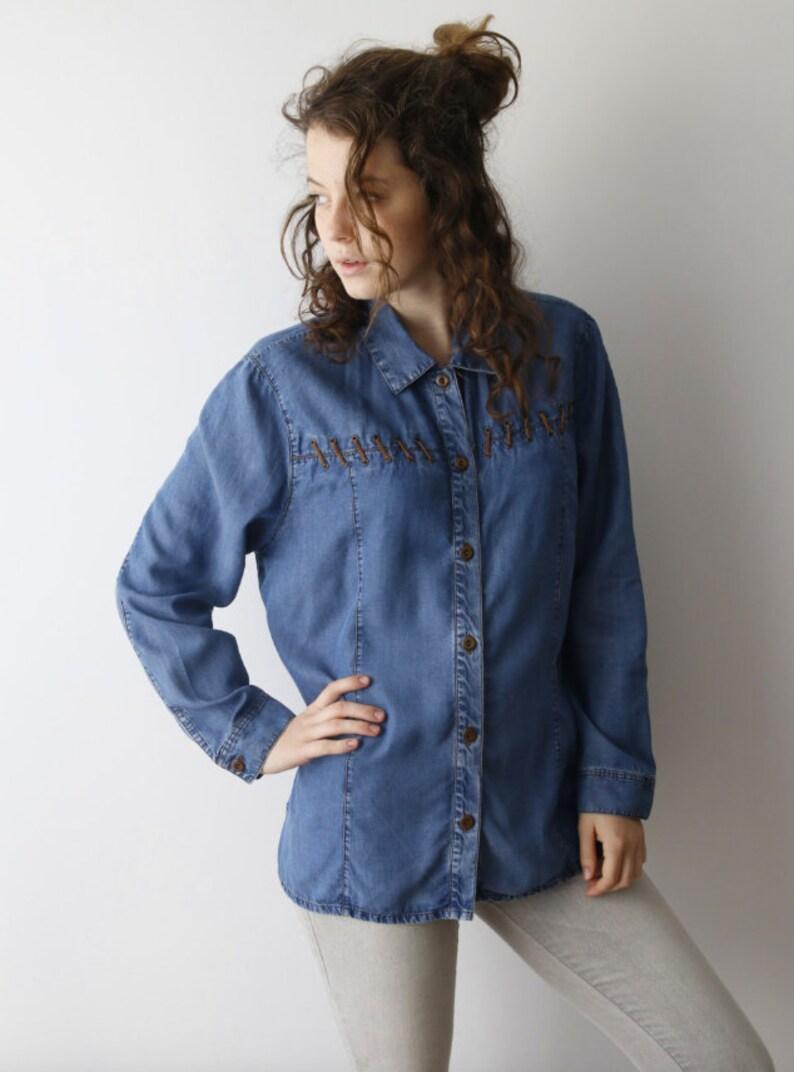 224a8941da6 Vintage Women Light Blue Denim Western Shirt Button Up Long