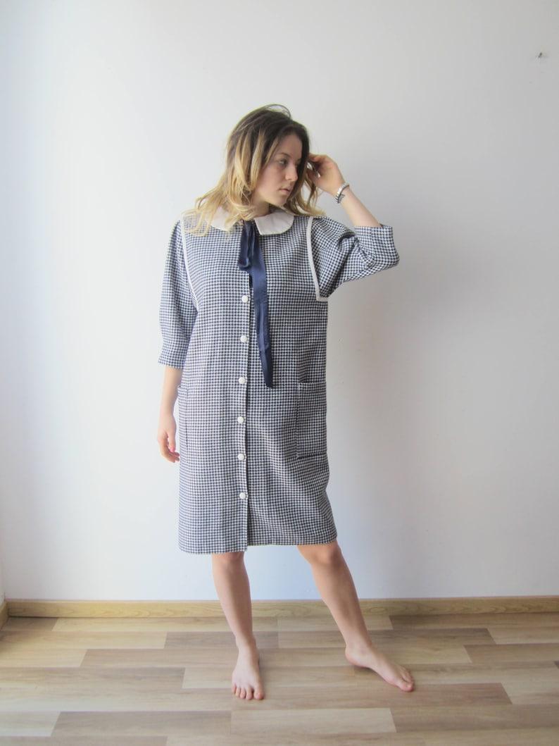 846424314762f Vintage Women's Blue White Dress Spring Autumn Dress 3/4 Sleeve Button Down  Dress 70s 80s Shirt Dress Large Size Warm Midi Office Lady Dress