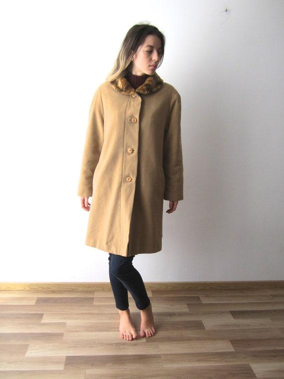 Wool Blend Cashmere Coat Womens Light Brown Romant