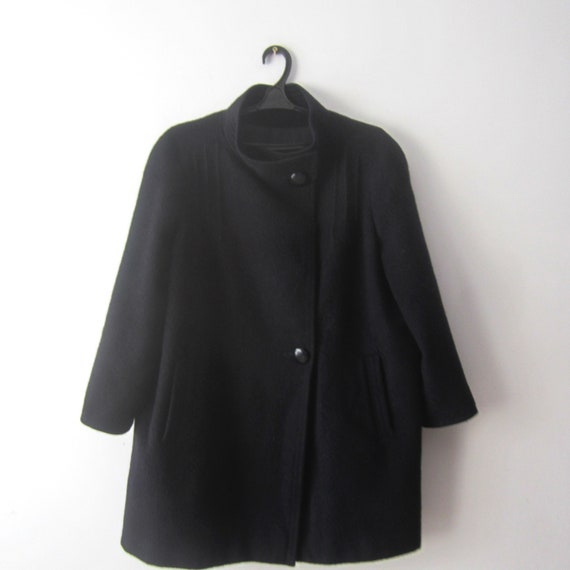 Vintage Dark Blue Wool Romantic Short Coat Women's