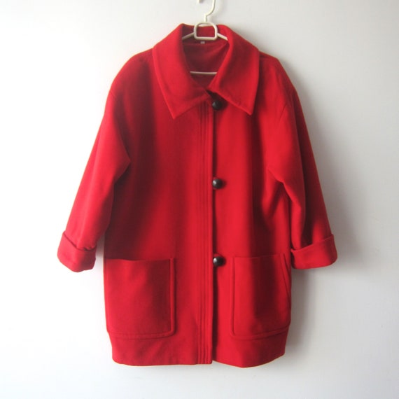 Vintage Red  Wool blend Jacket Romantic Short Coat
