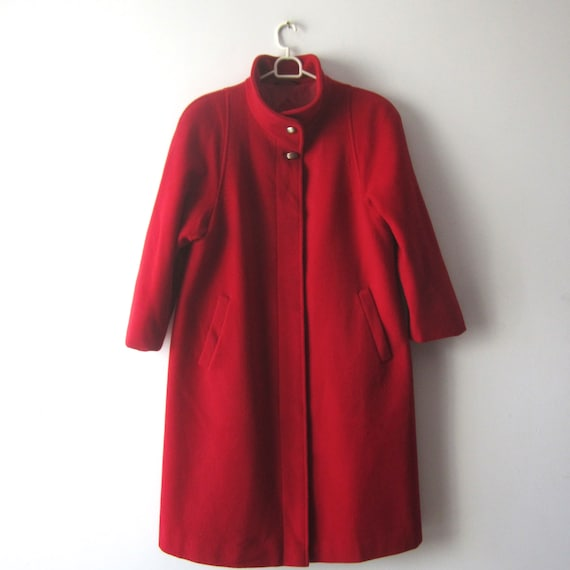Vintage Red Coat Women's Wool blend Coat Romantic
