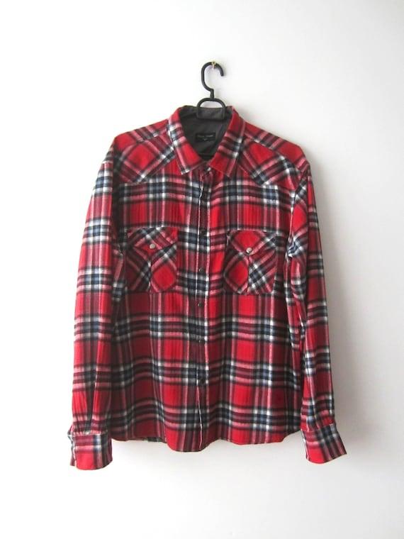 Western Wear Lumberjack Grunge Shirt Vintage Men/'s Long Sleeve BlueRed Plaid Flannel Shirt