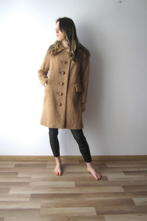 Vintage Caramel Brown Coat Women's 60s Style Roman