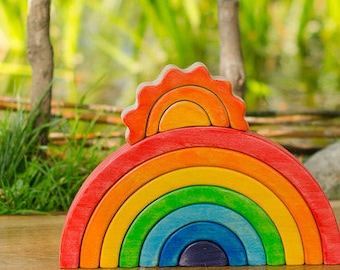 Waldorf RAINBOW Stacker // Puzzle // Wooden toys // for Toddlers // Waldorf Toy // Arcoiris // Arcobaleno