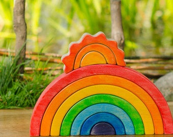 Waldorf RAINBOW Stacker // Puzzle // Wooden toys // for Toddlers // Waldorf Toy // Arcoiris // Arcobaleno