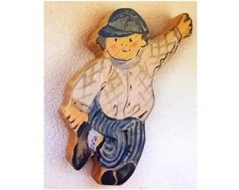 Wooden Running BOY figurine // Waldorf Toy // People // Pretend Play //
