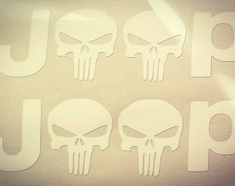 One 5 inch wide JEEP Punisher vinyl decal