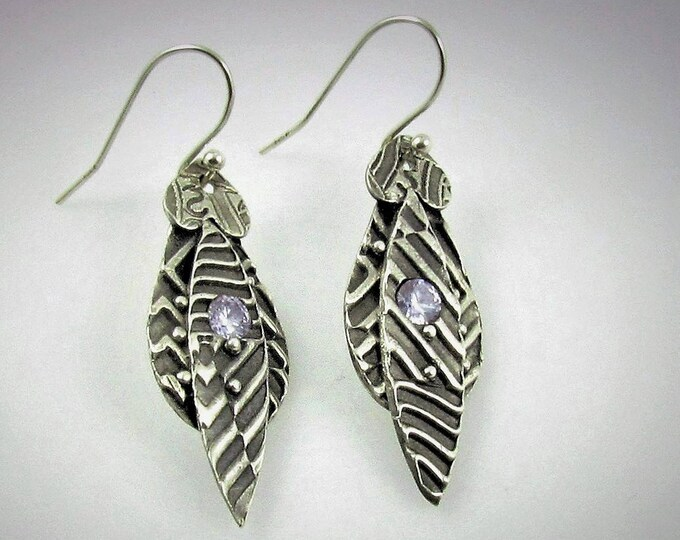 Item 4190 - Abstract Unique Lightweight Layered Fine and Sterling Silver Earrings with Stunning Lavendar CZ