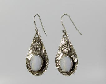 Item 4235 - Beautifully Handcrafted Flower Inspired Blue Lace Agate Extremely Lightweight Fine and Sterling Silver Earrings