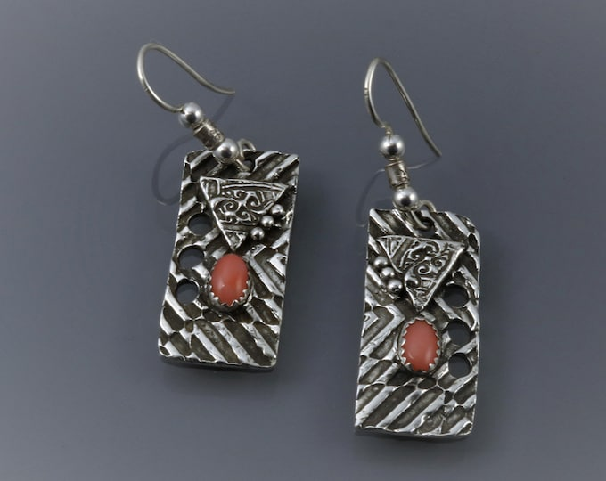 Item 4278 - Abstract Unique Lightweight Rectangle Handcrafted Layered Fine and Sterling Silver Earrings with Pink Angel Skin Coral