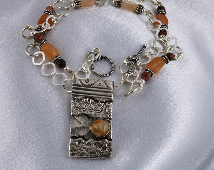 6050 - 999 Pure Fine and 925 Sterling Silver Crazy Lace Agate Leopardskin Jasper Peach Aventurine Textured One-of-a-Kind Necklace