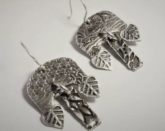 "4400-2 ""Dangling Dangles"" Collection 999 Silver and 925 Sterling Silver Handcrafted Unusual Unique Abstract Lightweight Dangle Earrings"