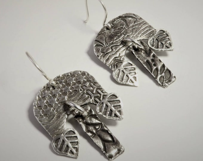 """4400-2 """"Dangling Dangles"""" Collection 999 Silver and 925 Sterling Silver Handcrafted Unusual Unique Abstract Lightweight Dangle Earrings"""