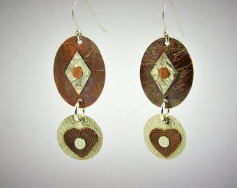 Item 4200-30 Handcrafted Sterling Silver and Copper Abstract Textured Lightweight Oval Heart Earrings