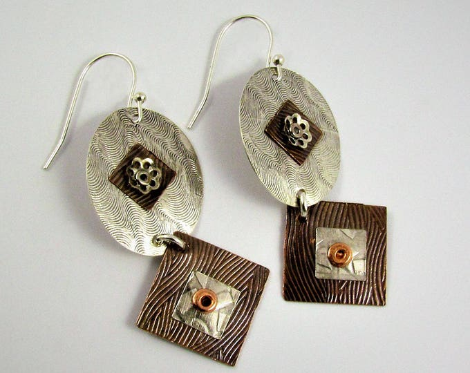 Item 4200-31 Handcrafted Sterling Silver and Copper Abstract Textured Lightweight Oval Square Earrings