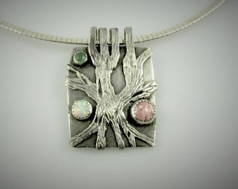 "Item 6109 - ""Everlasting Strength"" 999 Fine and 925 Sterling Silver Carved Textured Abstract Tree set with Rhodochriste, Opal, Adventurine"
