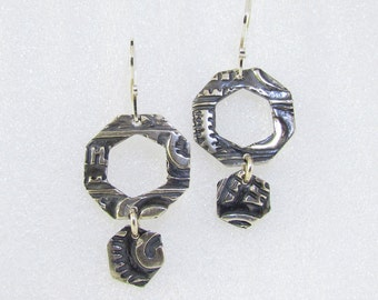 Item 4219 -999 Fine Silver Handcrafted & sculpted lightweight Aztec Style Dangle Earrings