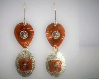 Item 4200-34 Handcrafted Sterling Silver and Copper Abstract Textured Lightweight Earrings