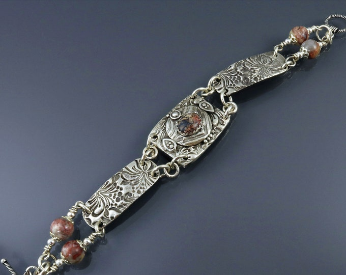 Item 869 - 999 Fine and 925 Sterling Silver Textured Carved Toggle clasp Link Bracelet with Leopard Skin Jasper Unique Gift for her