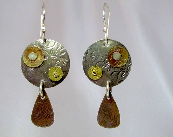 Item 4200-22 Handcrafted Sterling and Copper Textured Lightweight Dangle Earrings