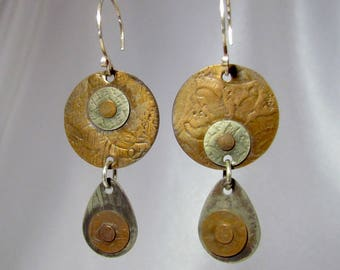 Item 4200-20 Handcrafted Sterling and Copper Textured Lightweight Dangle Earrings