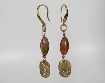 Item 4094 - Lightweight Abstract Bronze Dangle Earrings with genuine Brown Glass swirl Beads and Bronze Earring Hooks