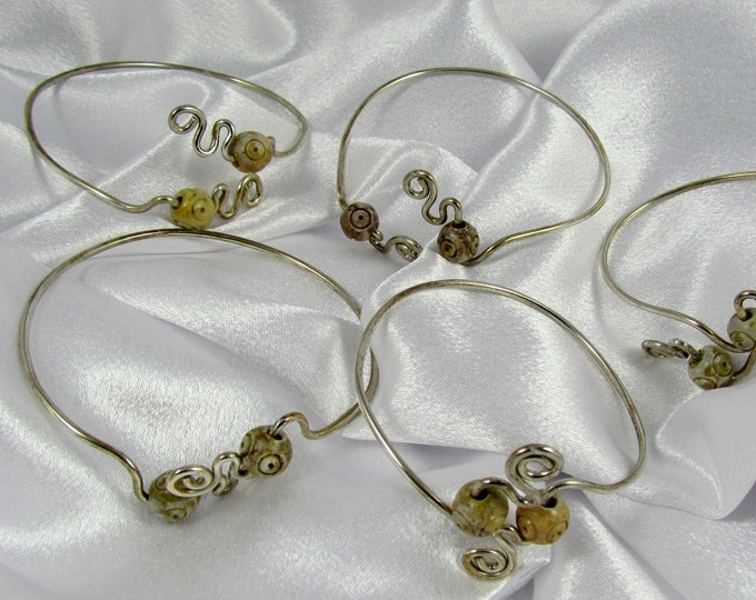 Item 877 - 925 Sterling Silver Stackable Bracelets with carved Soapstone Unique One-of-a-kind Gift for her