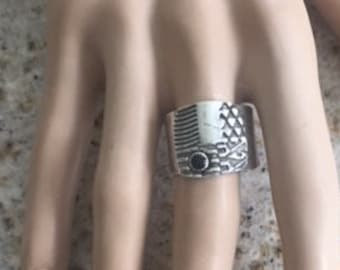 Item 21102 - Fine and Sterling Silver Handcrafted Textured Unique Abstract Woman or Men's Ring Band with Genuine Onyx Size 10