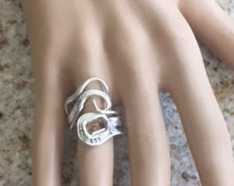 """189 - """"Radiant Swirls"""" Collection 999 Silver and 925 Sterling Silver Swirls Unique Adjustable Ring Size 6-8.5 with Smoky Topaz CZ"""