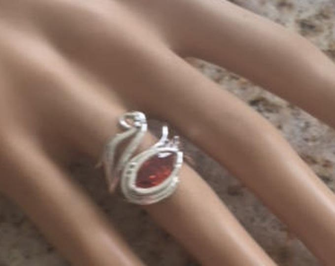 999 Fine Pure Silver and 925 Sterling Silver Handcrafted Sculpted Unusual Unique Gift for her Adjustable Ring Size 4-6 Marquis Fire Opal CZ
